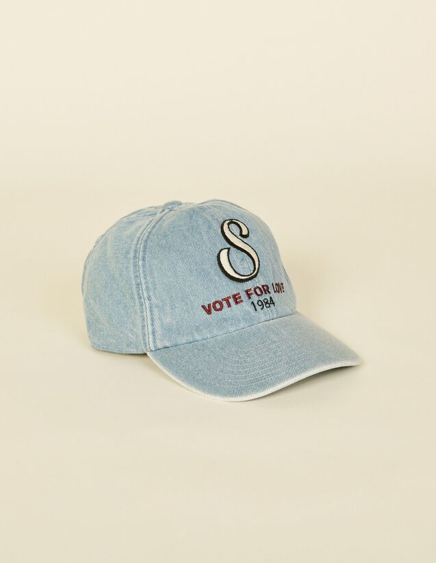 Embroidered Denim Cap : Fall/Winter Collection color Blue Jean