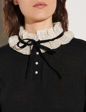 Sweater With Ruffled Fabric Collar : Tops color Black
