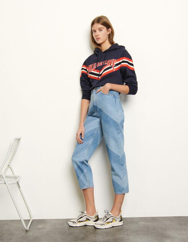 Jeans With Diagonal Stripes : Jeans color Bleu Denim