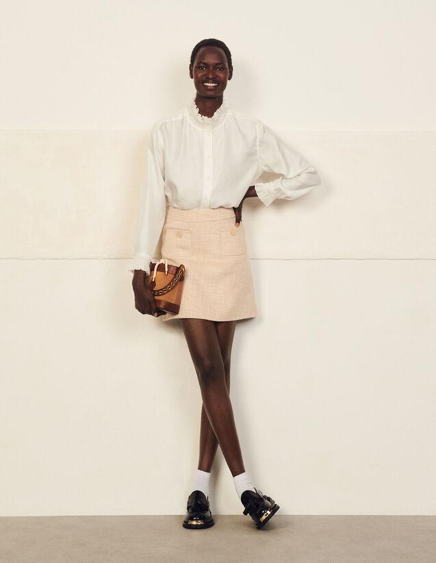 Short Wool Skirt : Skirts & Shorts color Beige