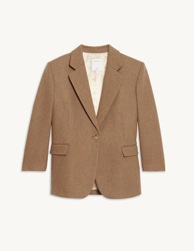 Wool Tailored Jacket : Blazers & Jackets color Brown