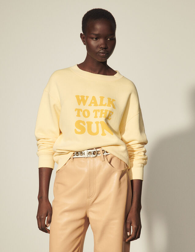 Cotton Sweatshirt With Lettering : Tops color Light Yellow