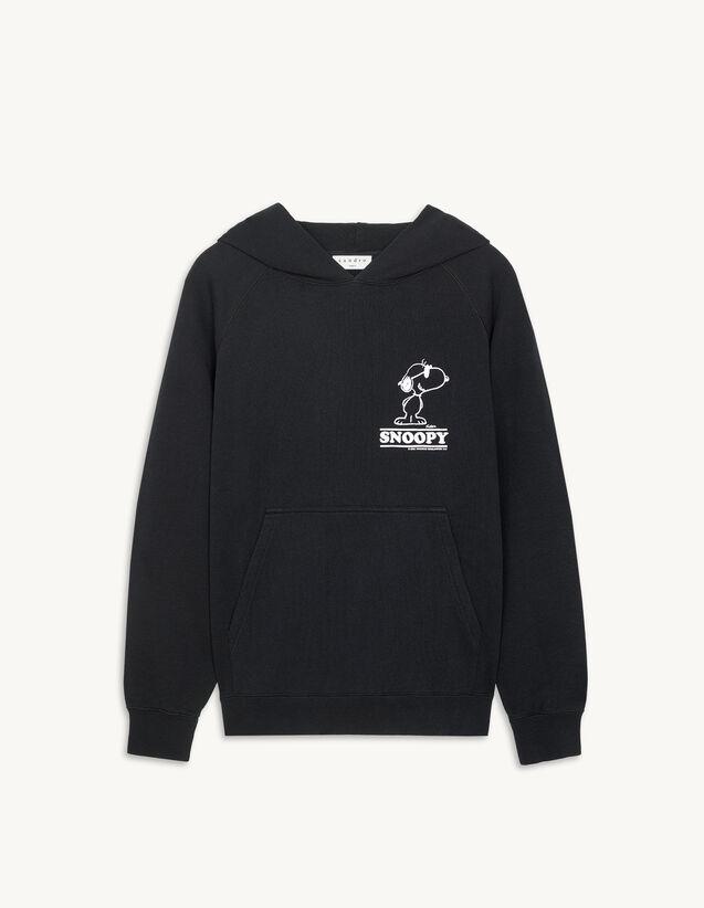 Hooded Sweatshirt With Snoopy Flocking : Sweatshirts color Black