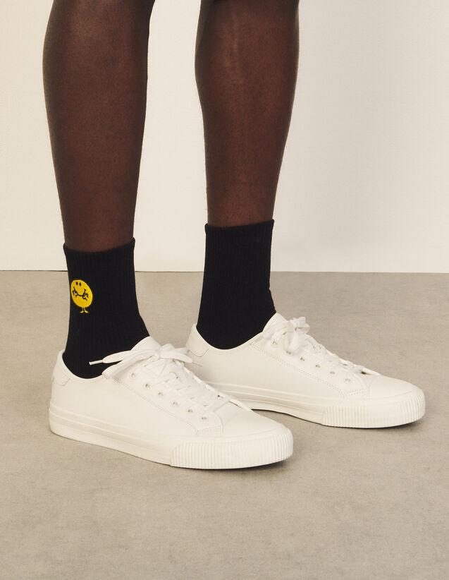 Cotton Socks With Patch : Shoes color Black