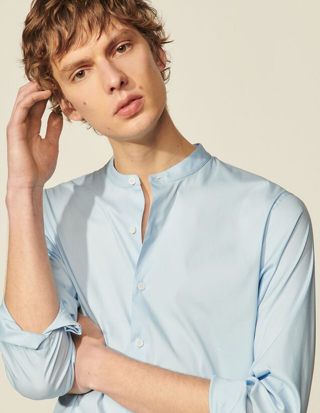 Stretch Cotton Shirt : Shirts color Blue
