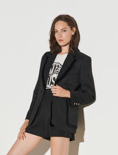 Tailored Jacket With Velvet Trim : Blazer & Jacket color Black