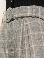 Belted Checked Shorts : Skirts & Shorts color Grey/ Beige