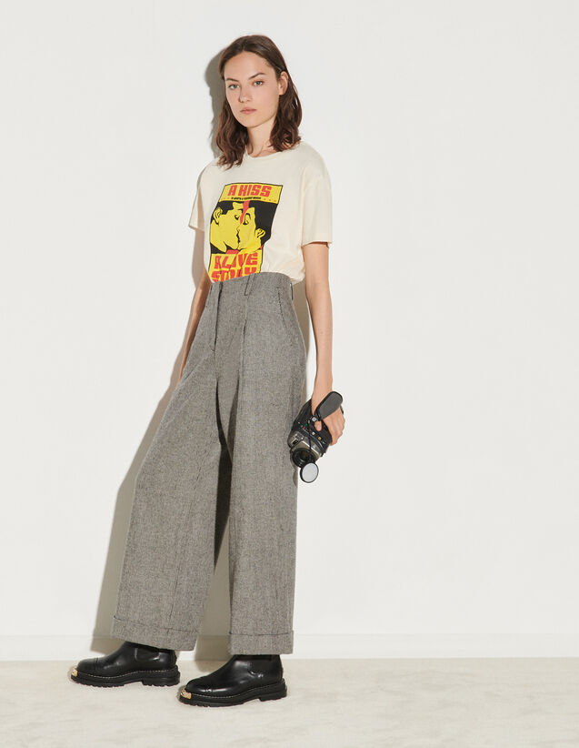 High-Waisted Wide-Leg Trousers : Pants color Black / White