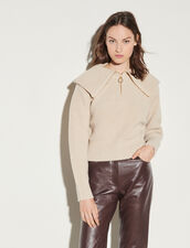Trucker Sweater With Oversized Collar : Sweaters & Cardigans color Beige