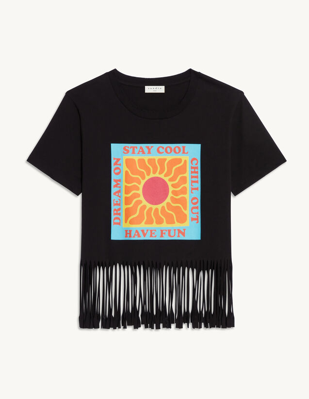 T-Shirt With Fringing : T-shirts color Black