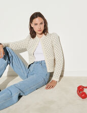Quilted-Effect Cardigan : Sweaters & Cardigans color Ecru