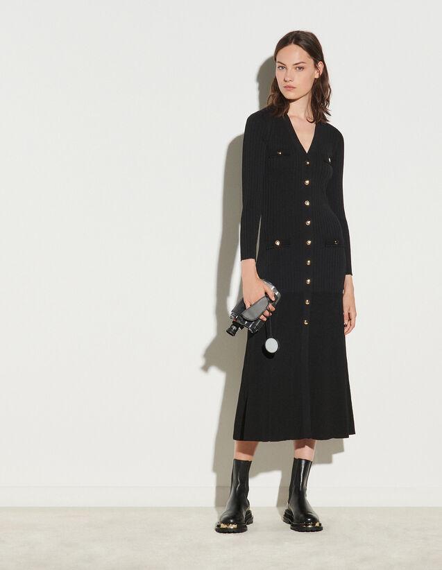 Long Button-Up Cardigan Dress : Dresses color Black