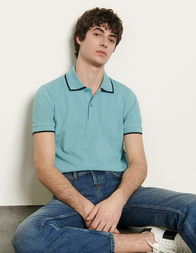 Cotton Piqué Polo Shirt : T-shirts & Polo shirts color Beige