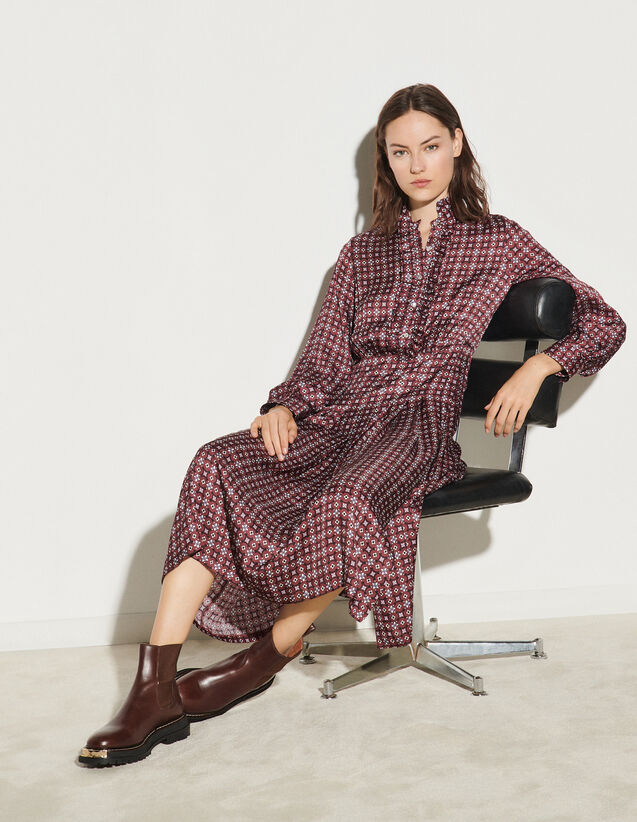 Long Printed Dress With Ruffles : Dresses color Bordeaux