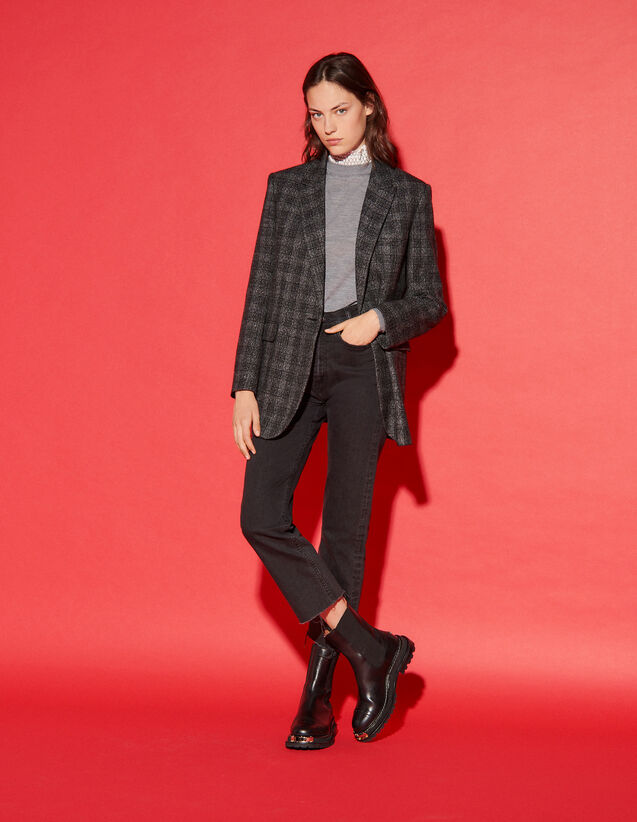 Checked Tailored Jacket : Blazer & Jacket color Charcoal Grey