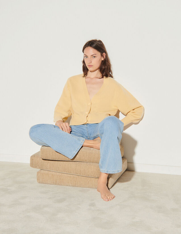Wool Twinset Cardigan : Sweaters & Cardigans color Light Beige