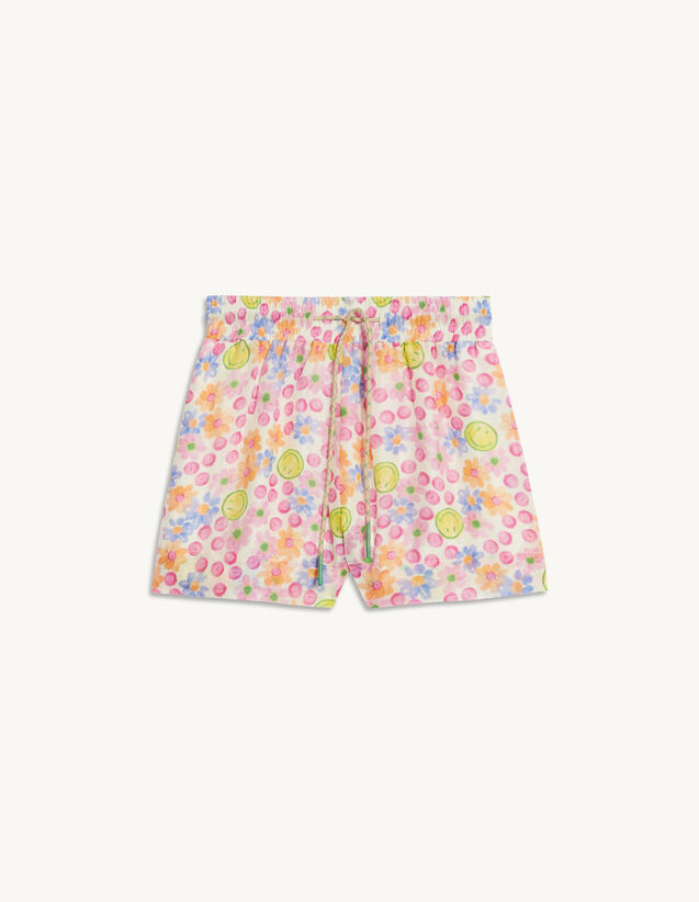 Wide Printed Boxing-Style Shorts : Skirts & Shorts color Pink