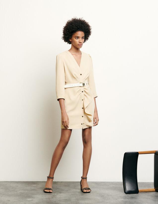 Short Dress With Peplum : Dresses color Beige
