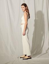 Straight-Cut Knit Jogging Bottoms : Pants color white