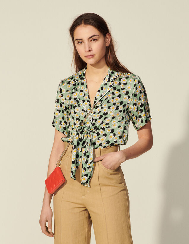 Printed Pyjama Shirt : Shirts color Green / Black