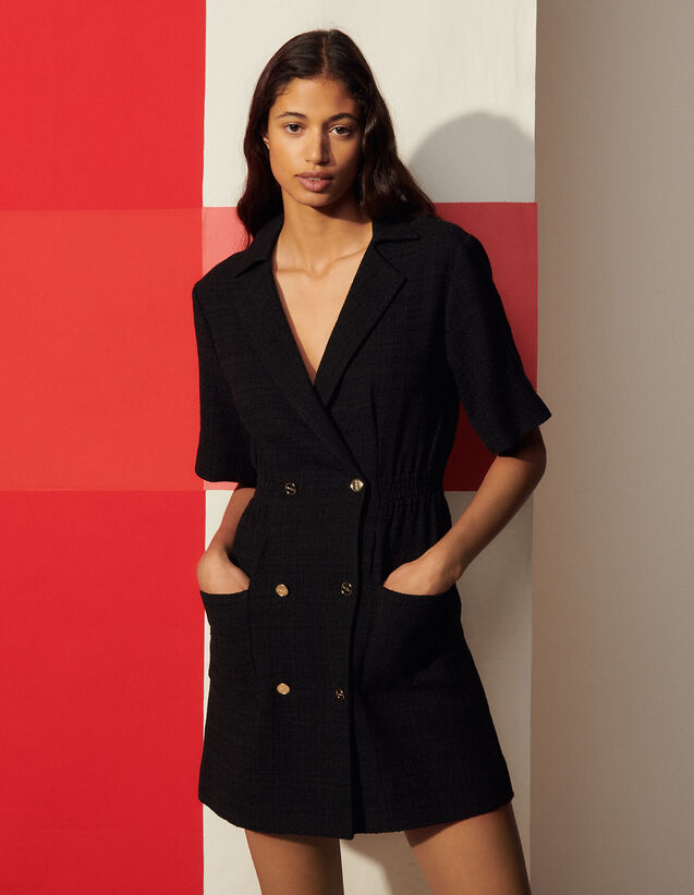 Dress With Tailored Collar : Dresses color Black