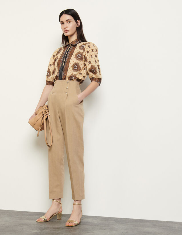High-Waisted Trousers With Buttons : Pants color Camel