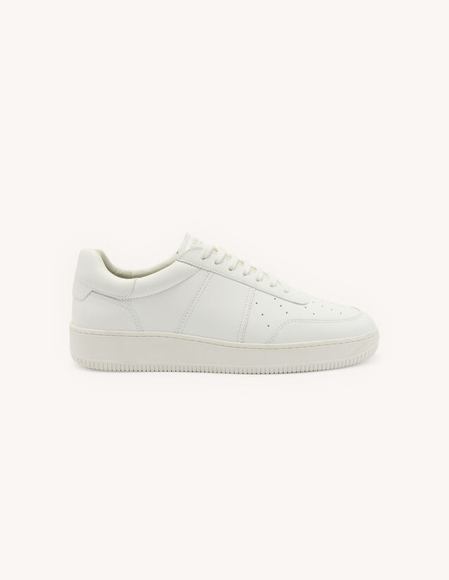 Vintage-Style Leather Trainers : Shoes color Off-White