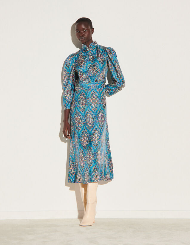 Long All-Over Silk Print Dress : Dresses color Petrol blue / Orange
