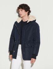 Mid-Length Parka With Sheepskin Hood : Trench coats & Coats color Navy Blue