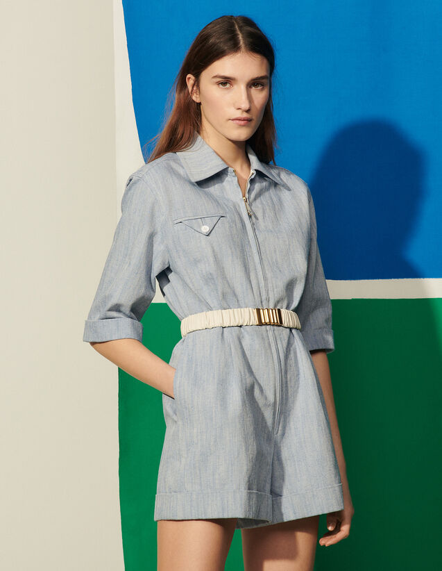 Linen And Cotton Playsuit : Jumpsuits color Blue Jean