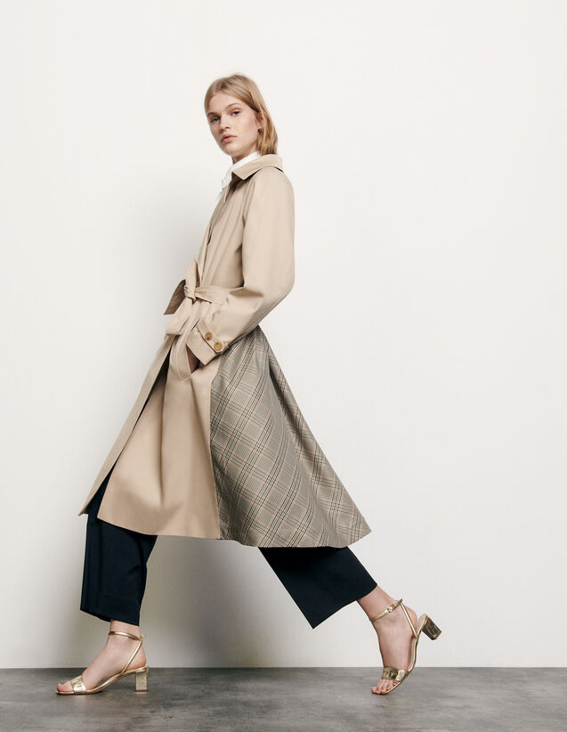 Trenchcoat With Insert At The Back : Coats color Beige