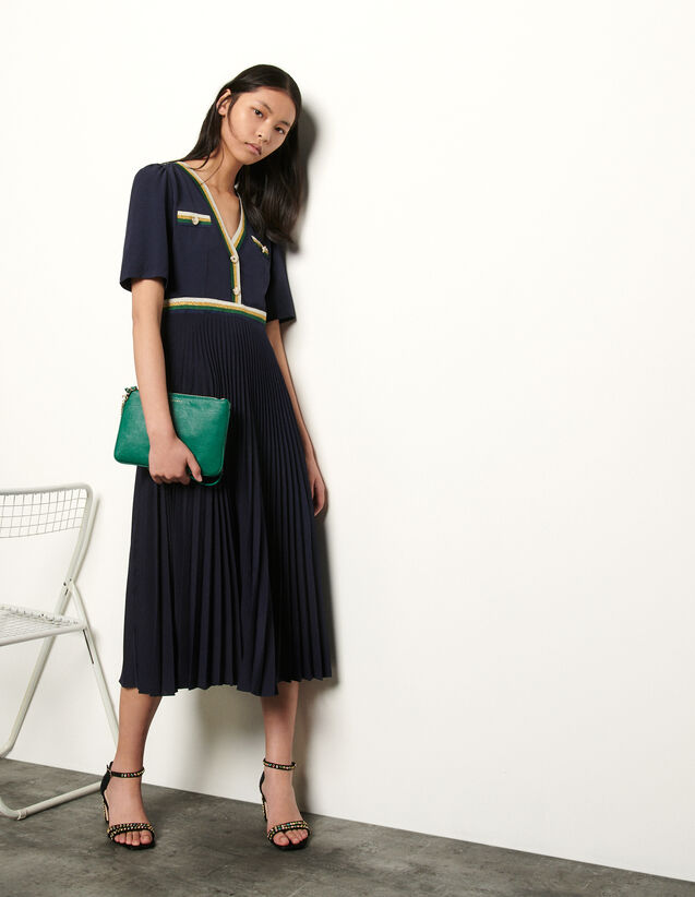 Long Pleated Dress With Short Sleeves : Dresses color Ecru