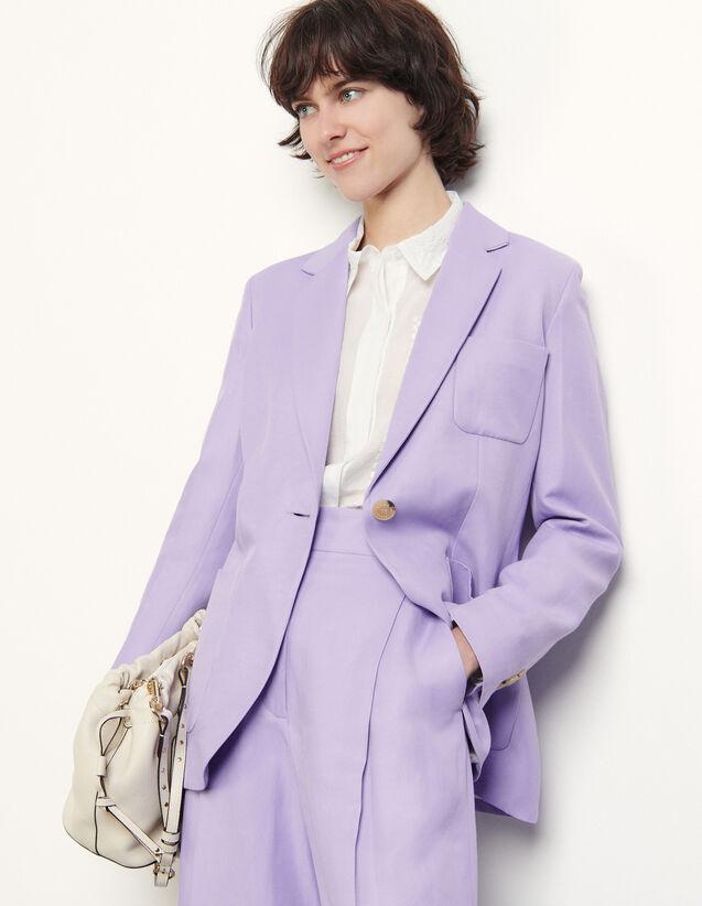 Linen Blend Tailored Jacket : Blazer & Jacket color Mauve