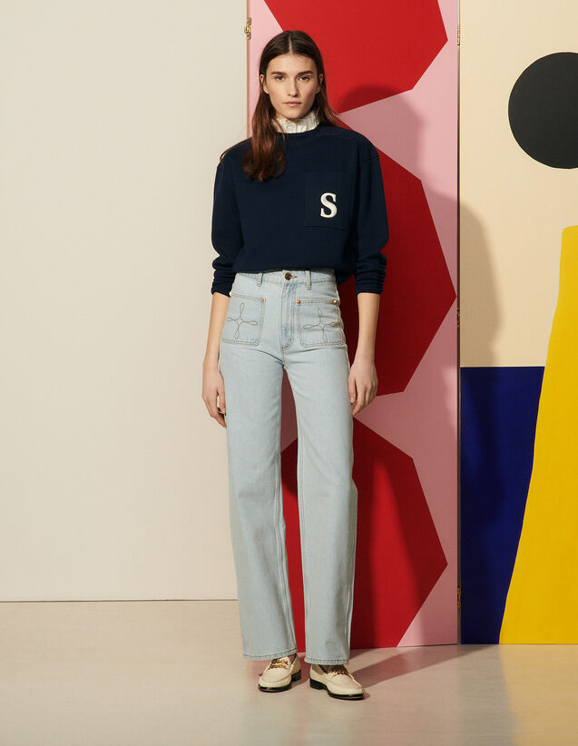 Wide-Leg Jeans With Embroidered Pockets : Jeans color Bleached - Denim