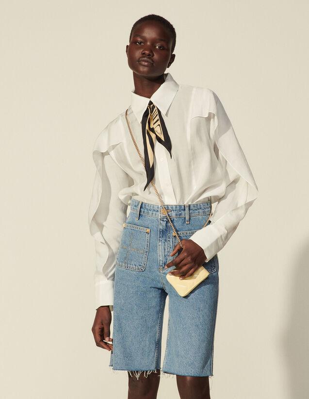 Oversized Cape Shirt With Ruffles : Shirts color Ecru