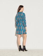 Short Printed Dress With Lacing : Dresses color Petrol blue / Orange