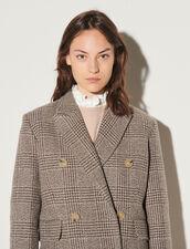 Long Checked Coat : Coats color Beige / Grey