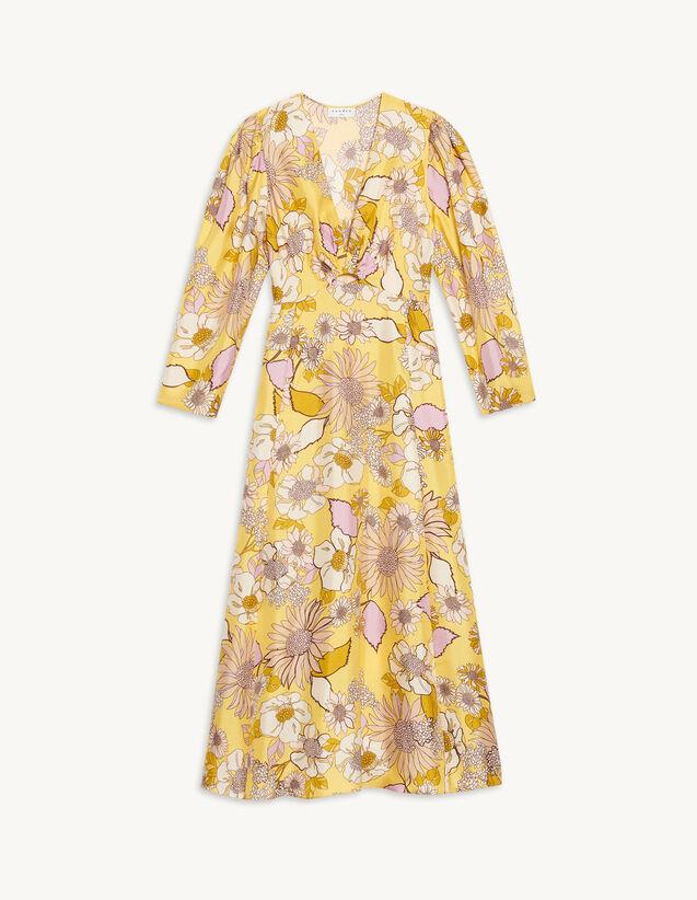 Long Silk Printed Dress : Dresses color Yellow / Lilac