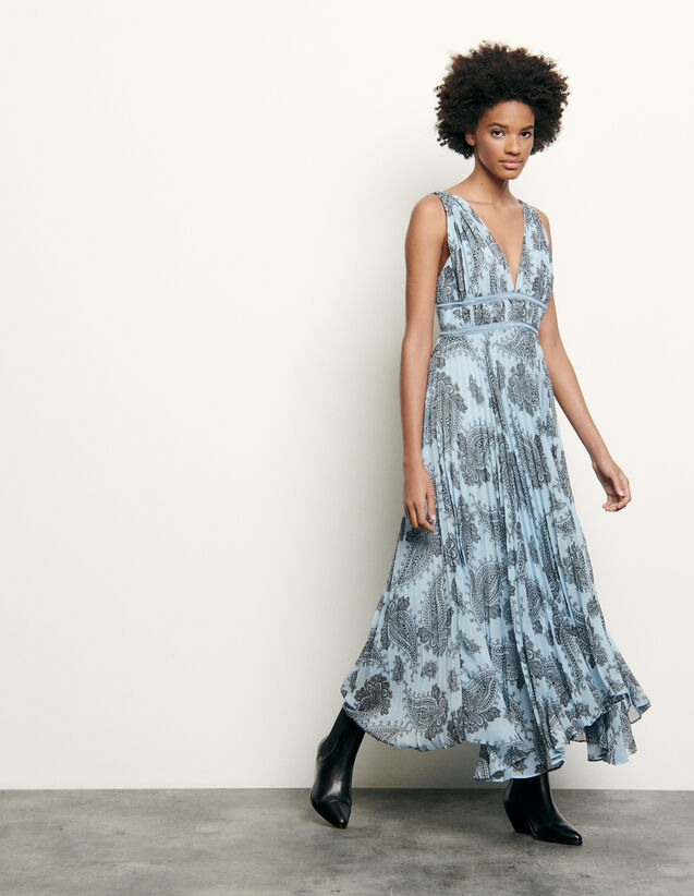 Long Dress In Printed Chiffon : Dresses color Blue