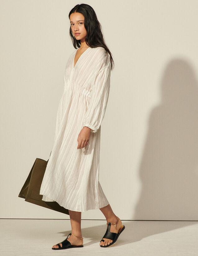 Long Dress In Fine Striped Fabric : Dresses color Ecru