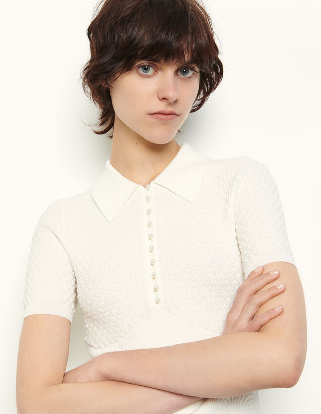 Polo-Style Pointelle Sweater : T-shirts color white