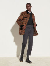 Checked Wool Jacket : Coats color Brown