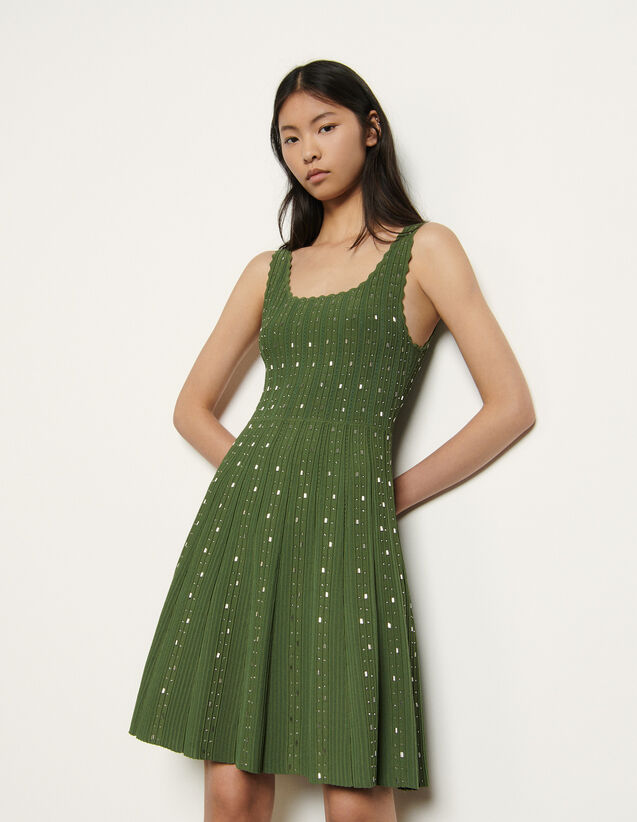 Knitted Dress With Bead Jewels : Dresses color Olive Green