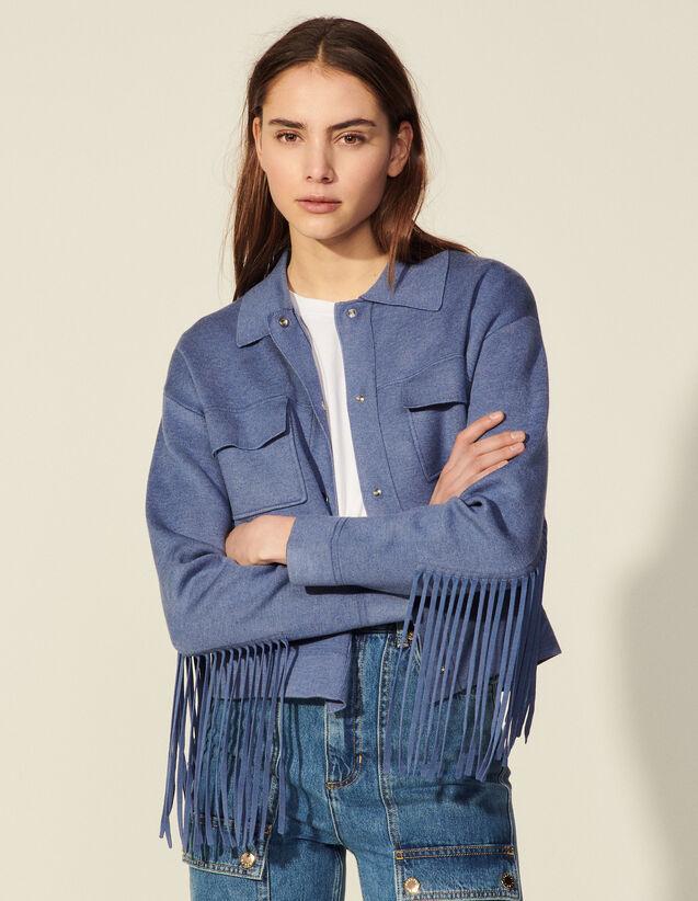 Short Fringed Coatigan : Sweaters & Cardigans color Bleu Denim