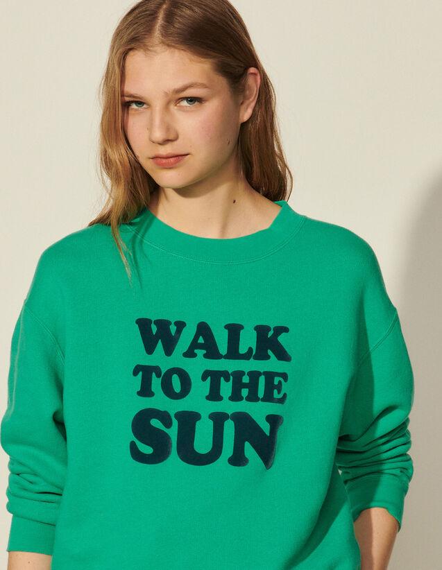 Cotton Sweatshirt With Lettering : 40%off color 祖母绿/EMERAUDE
