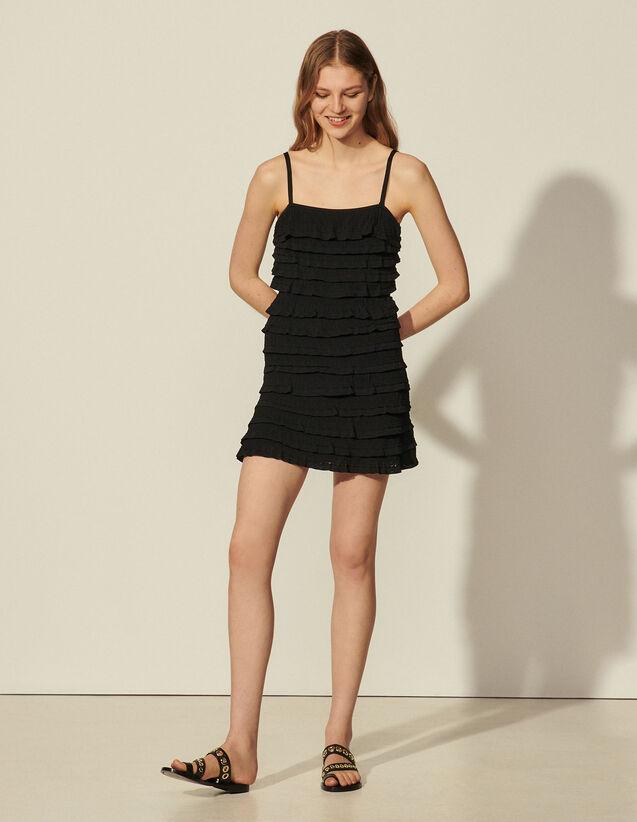 Ruffled Knit Dress : Dresses color Black
