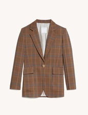 Checked Tailored Jacket : Blazer & Jacket color Brown