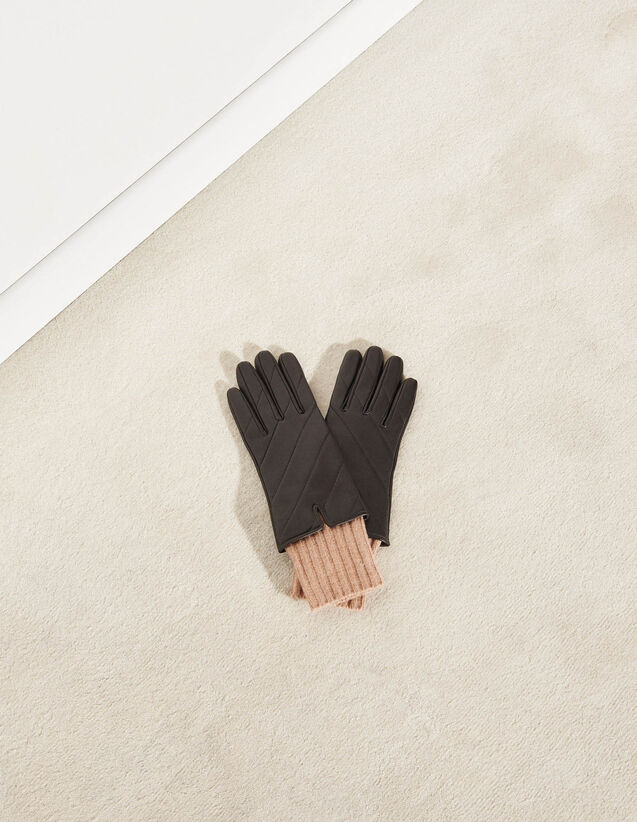 Quilted Mixed-Material Gloves : -50% color Black