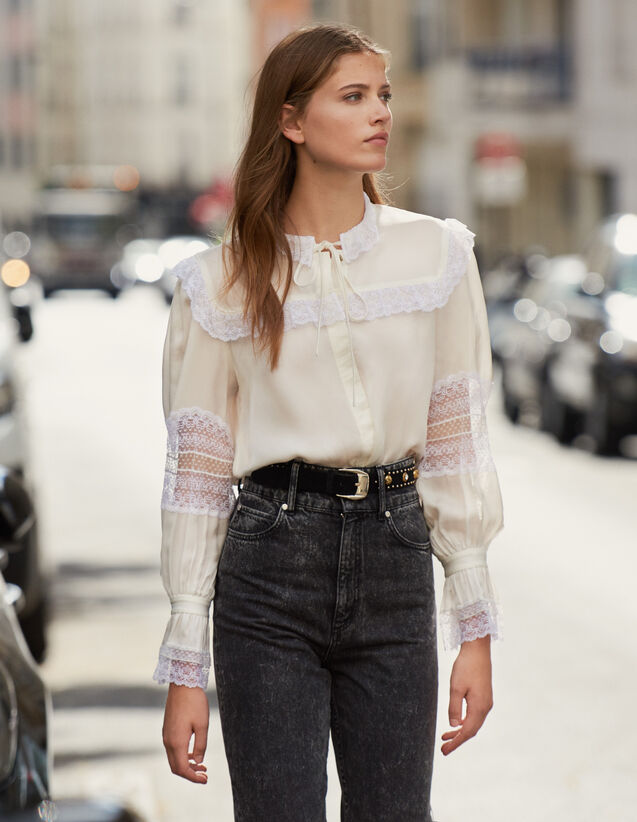 Lace Embellished Blouse : Shirts color Ecru