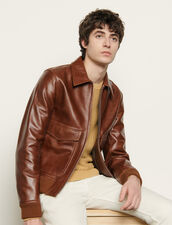 Leather Jacket : Trench coats & Coats color Brown